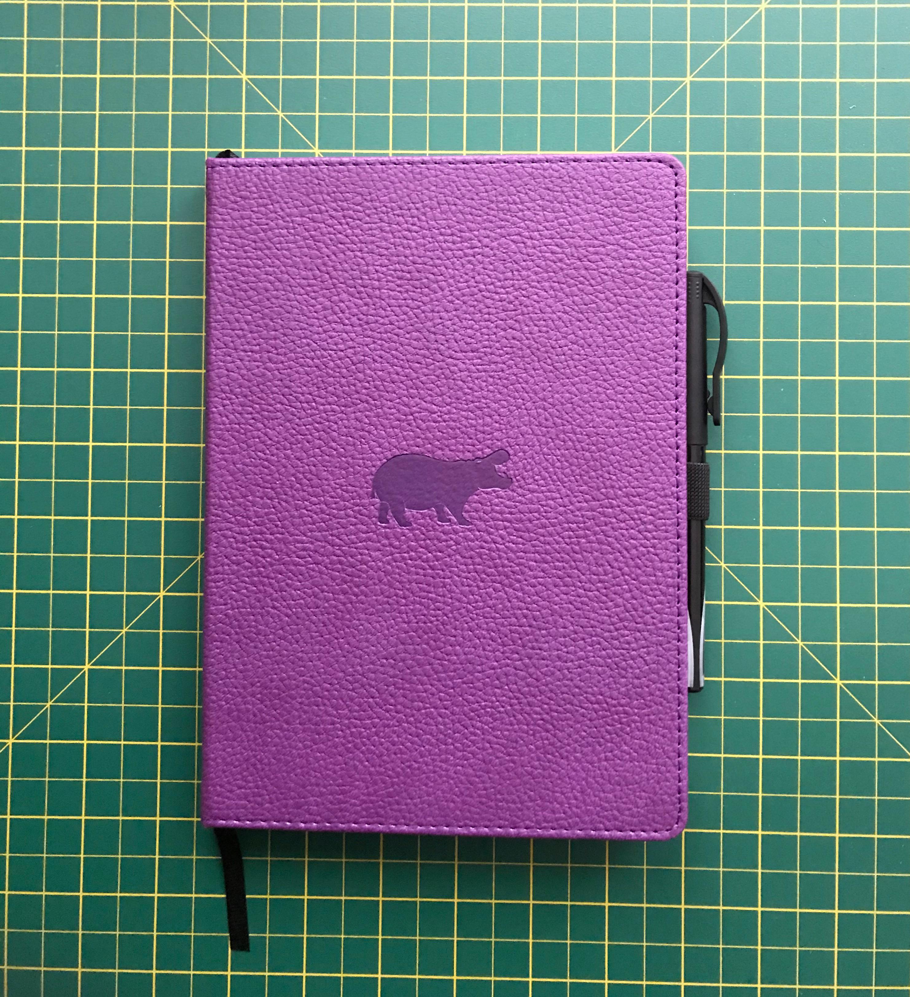 Purple hippo dingbats notebook